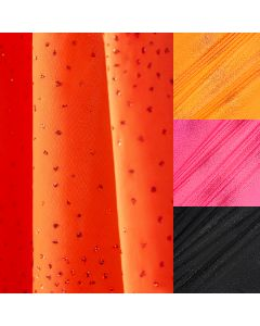 Glitzernder uni Lycra Stoff in orange - pink - schwarz.