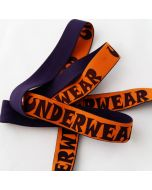 Gummiband, 'Underwear', orange-violett, 3cm breit