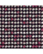 Jersey Stoff mit Vichymuster in schwarz-ecru-pink