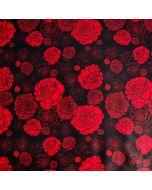 Bielastischer Lycra - Badelycra Stoff Panel in schwarz mit rotem Rosenmuster für Bademode und Tanzbekleidung.