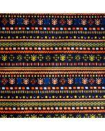 Schwarzer Badelycra Stoff mit feiner Musterung in diversen Orange-, Grün- und Erdtönen. Die Musterung wurde durch Indianer-Kunst inspiriert.