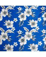 Mittelschwerer, blickdichter, bielastischer Lycra Stoff für Bademode in blau mit weiss-grauen Blumenmuster.