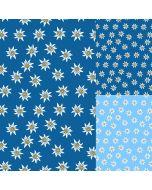 Weicher, bielastischer Jersey Stoff in lässigen Farben mit weissem Edelweiss-Muster - der Stoff ist perfekt für Bekleidung und Unterwäsche.