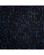Lässiger Satin Stoff in schwarz mit Musterung in blau. Die Musterung besteht aus Binärcode-Ziffern - Stoffzusammensetzung: 100% Baumwolle