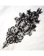 Tüllstickerei-Besatz - Spitzenapplikation in schwarz für den Rücken von T-Shirts oder Kleider. Sehr gross - 57x26cm