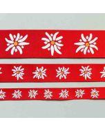 Satinband mit Edelweiss Motiv in rot