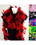 Multicolor Federboa für Fasnacht, Drag oder Cosplay in 6 Lässigen Farbkombinationen - aus gefärbten Naturfedern hergestellt.