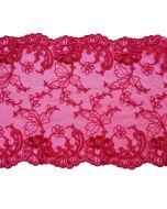 Elastische Tüllstickerei-Spitze in rubinrot - 17.5cm breit