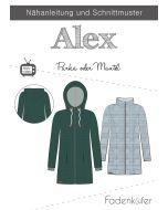 Schnittmuster 'Alex' für Parka und Mantel mit Kragen oder Kaputze in 3 Varianten: für Damen, Herren und Kinder - von Fadenkäfer.