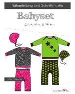 Schnittmuster von Fadenkäfer für ein Babyset in den Grössen 50 bis 98 - das Schnittmuster beinhaltet Schnitte für Ein T-Shirt, Pulli, Hose und Mütze.
