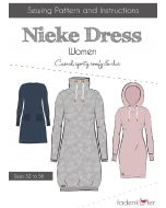Lässiges Schnittmuster von Fadenkäfer 'Nieke' für Damen und Mädchen: das Schnittmuster ist für ein Tunika oder ein kurzes Kleid mit breitem Kragen oder Kaputze.