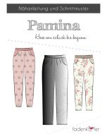 Schnittmuster 'Pamina' für eine leichte, lockere Hose aus Jersey oder Webware von Fadenkäfer. Das Schnittmuster ist in 2 Varianten (Damen oder Kinder) erhältlich.