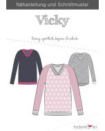 Schnittmuster für V-Neck Pullover 'Vicky' von Fadenkäfer