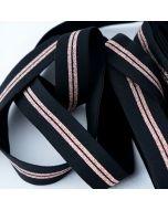 Weiches Gummiband in schwarz mit Streifen in rosegold auf einer Fläche, die Rückseite ist flauschig, uni - 25mm breit für Unterhosen und Leggings in 5m-Budgetpackung.