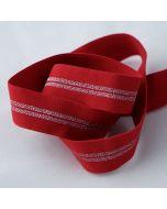Weiches Gummiband in rot mit silbernen Streifen auf einer Fläche, die Rückseite ist flauschig, uni rot - 25mm breit für Unterhosen und Leggings in 5m-Budgetpackung.
