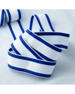 Mittelstarker Unterhosengummi in weiss mit blauen Streifen für Unterwäsche, Unterhosen, Bustiers, Turnhosen.