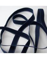 Gummiband mit Spitzenkante (Spitzengummiband) in dunkelblau matt für Unterwäsche und hautnahe Bekleidung.