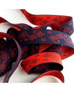Gummiband, rot-blau, Blumenmuster, 3.5cm breit