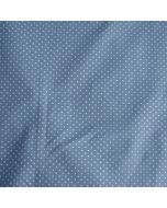 Feiner, weicher Jersey Stoff aus Baumwolle in jeansblau mit 2mm grossen, weissen Pünktchen. Perfekt für Damen- und Kinderbekleidung und Unterwäsche.