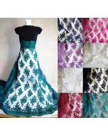 Tüllstickerei-Spitze Stoff in 9 Farben (weiss, schwarz, ecru, fuchisa, dunkelblau, grün, türkis, dunkelrot, lila) für Brautkleider, festliche Kleider.