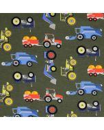 Jersey Stoff mit Traktor- und Erntemaschine-Muster in dunkelgrün