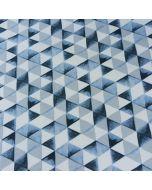 Bio Sweat Stoff in weiss/blau mit Dreieckmuster