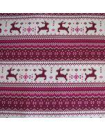 Feinstrick-Sweat Stoff mit digitaldruck Rentier-Motiven in hellgrau-dunkelrot für warme Pullis, Hoodies, Mützen, Decken; usw.