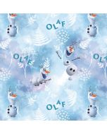 Jersey Stoff mit Olaf-Motiven aus dem Film 'Die Eiskönigin' (Frozen). Der Stoff ist bielastisch, aus Baumwolle und perfekt für Kinderkleider und Unterwäsche.