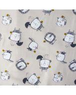 Weicher, bielastischer Jersey Stoff in hellbeige mit süssen Tiermotiven: mit Katzen-, Hasen- und Löwenmuster