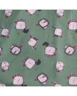 Weicher, bielastischer Jersey Stoff in mint mit süssen Tierfiguren: Schweinchen, Löwe, Katze
