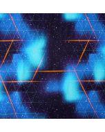 Bielastischer Jersey Stoff in kräftigen Blau- und Türkistönen mit Weltall- und Sternmuster und dreieckigen Raster.