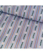 Trachtenhemden-Stoff mit Edelweissmotiv in hellblau