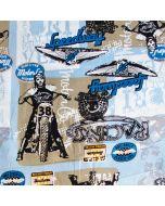Weicher, dünner Baumwollstoff in blau mit Bikermuster für Bekleidung (Hemden, leichte Hosen; usw) und Deko.