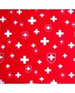 Roter nicht elastischer Stoff mit Schweizer Fahne und Schweizer Kreuz Muster aus 100% Baumwolle für Bekleidung oder Deko.