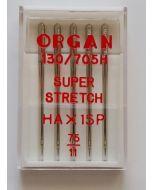 Super Stretch Nadeln HA x 1SP - Stärke 75 - 5 Stk. für Overlock und Coverlock-Nähmaschinen. Die Nadeln sind perfekt für Lycra, Badelycra, Jersey und andere Gewirke.