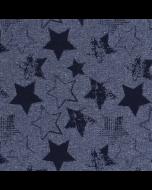 Sommersweat - French Terry - Stoff in dunklem blaugrau mit schwarzem Sternmuster. Der Stoff ist bielastisch, die Rückseite ist nicht angeraut. - Für Pullis, Leggings, Übergangsjacken, warme Schlauchschals; usw.