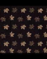 Schwarzer, bielastischer uni Jersey Stoff mit goldenem Blattmuster in Foliendruck - Stoffzusammensetzung: 95% Baumwolle 5% Elastan