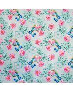 Softshell Stoff mit Vogel- und Blumenmotiven in mint mit pinkfarbenem Fleece-Futter. Der Stoff ist wasserabweisend und winddicht, perfekt für Jacken, Matschhosen, Outdoor-Decken.