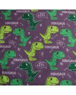 Softshell Stoff mit Dinosauriermuster und flauschiger Rückseite für Jacken, Matschhosen oder Decken.