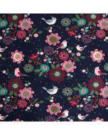 French Terry Stoff in dunkelblau mit feinen Vogelmotiven und Blumenmuster - unangerauter Sommersweat Stoff aus Baumwolle für Bekleidung.
