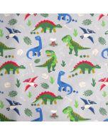 Jersey Stoff in grau mit Dinosaurier-Motiven in grün, blau und rot für coole Jungs und Mädchen.