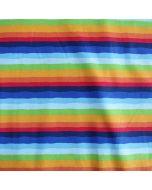 Jersey Stoff für Buben- und Männerbekleidung in blau-grün-rot-orange gestreift.