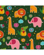 Süsser Softshell Stoff in hellgrau für Kinder mit bunten Elefant-Motiven für Softshell-Jacken, Matschhosen, Fusssäcke, Taschen; usw.