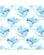 Softshell Stoff mit Wal - Walfisch-Muster