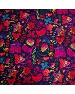 Wasserabweisender und winddichter Softshell Stoff in schwarz mit bunten Blumen- und Vogelmotiven und flauschig weichem Fleece-Futter für Jacken, Decken; usw.