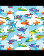Stoff aus 100% Baumwolle mit Flugzeug- und Helikoptermotiven für sommerliche Kinderklamotten.