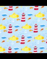 Softshell Stoff mit Leuchtturm und U-Boot Muster