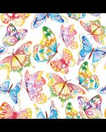 Jersey Stoff mit Schmetterlingsmuster in zarten grau-puder Tönen mit bunten Schmetterlingen.