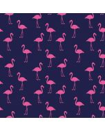 Jersey Stoff in dunkelblau mit Flamingo-Muster in pink