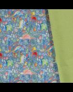 Warmer, weicher, wasserabweisender Softshell Stoff in grau mit bunten Dinosauriermotiven für Kinderbekleidung, Taschen und Decken.